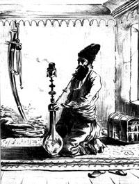Перс с кальном. Рисунок XIX в.